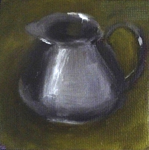 Oil painting silver pitcher