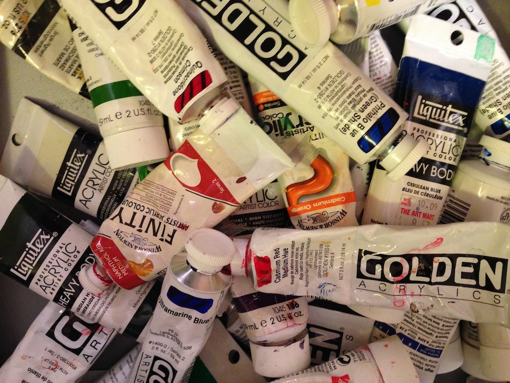 Tubes of acrylic paint