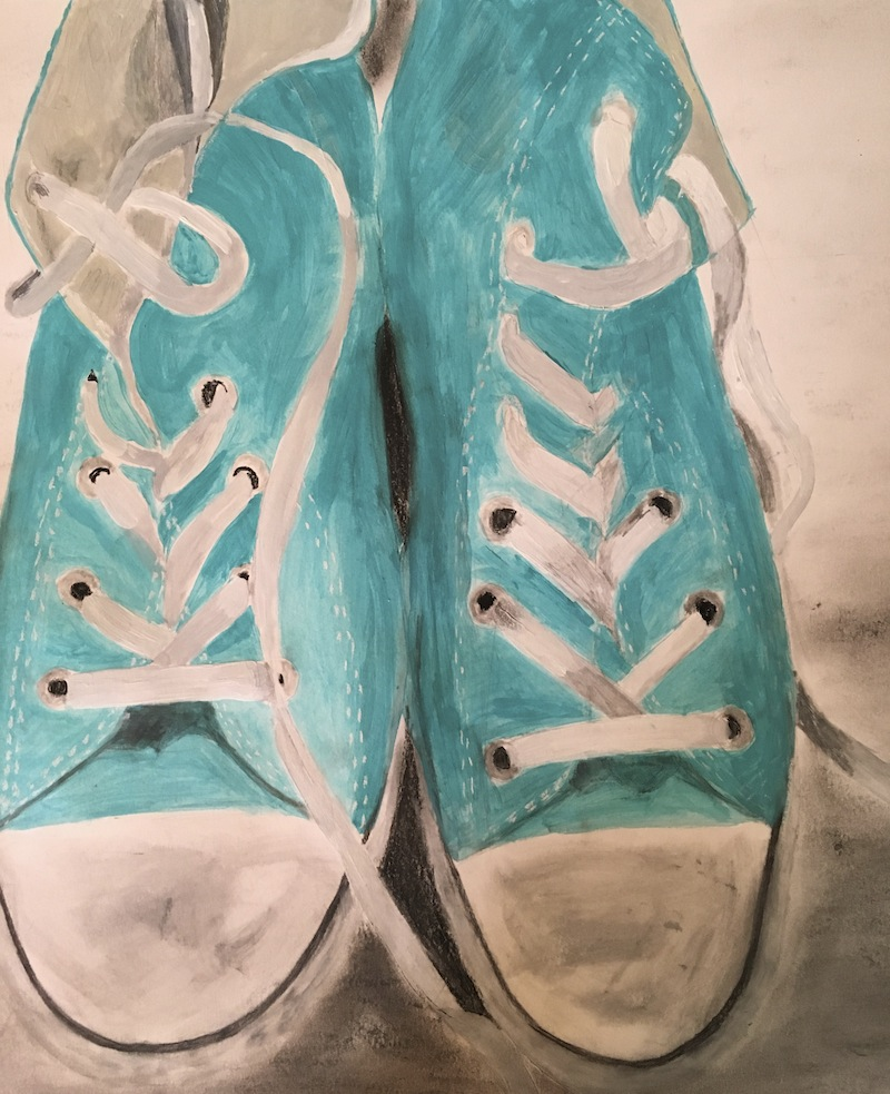 painting of sneakers