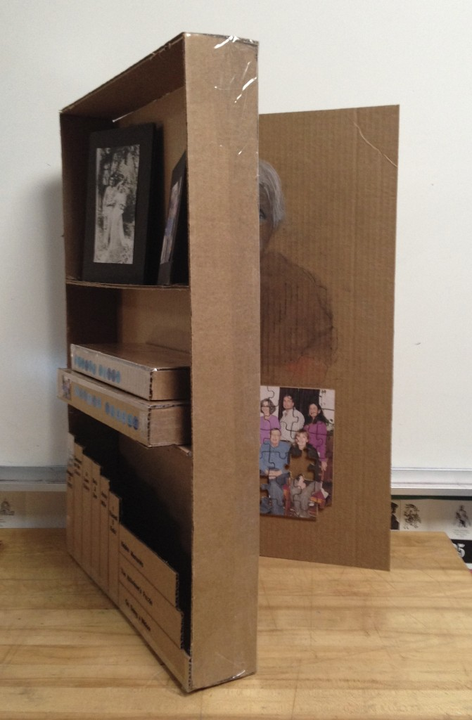 Partly open bookcase
