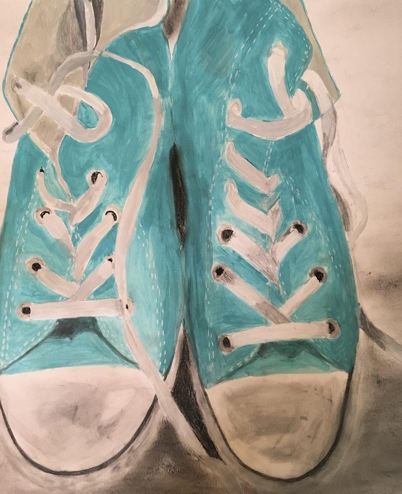 painting of sneakers